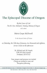 ordination announcement for Maria McDowell to the priesthood