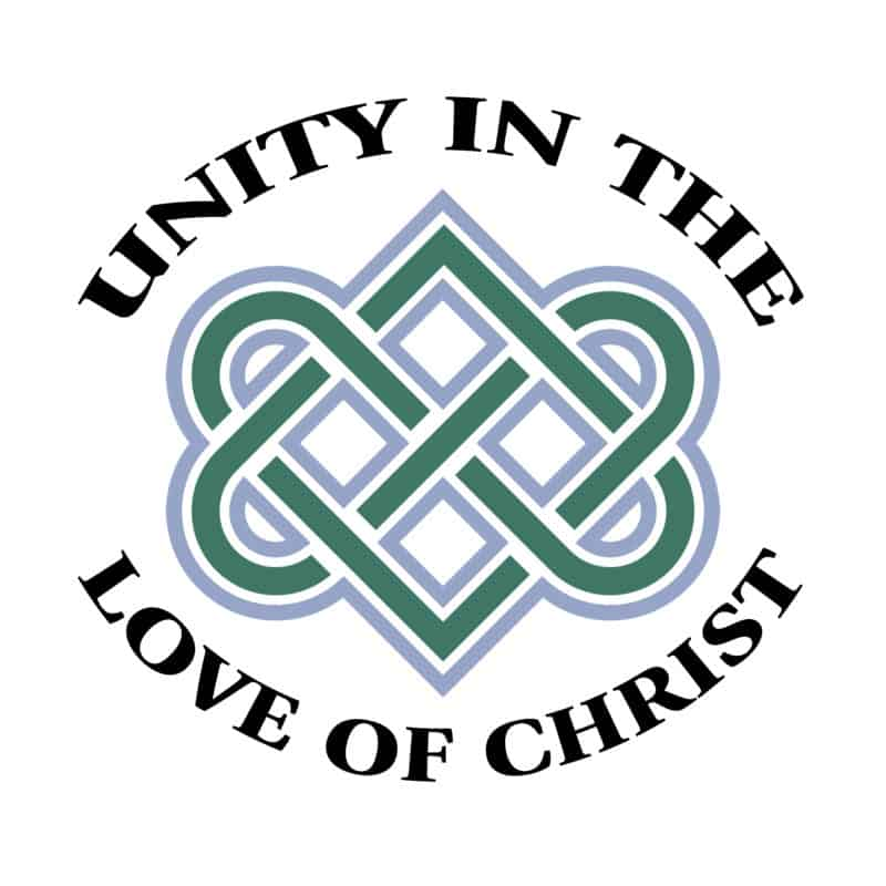 """a blue, green, and white celtic heart knot surrounded by the words """"unity in the love of christ"""" in black lettering"""