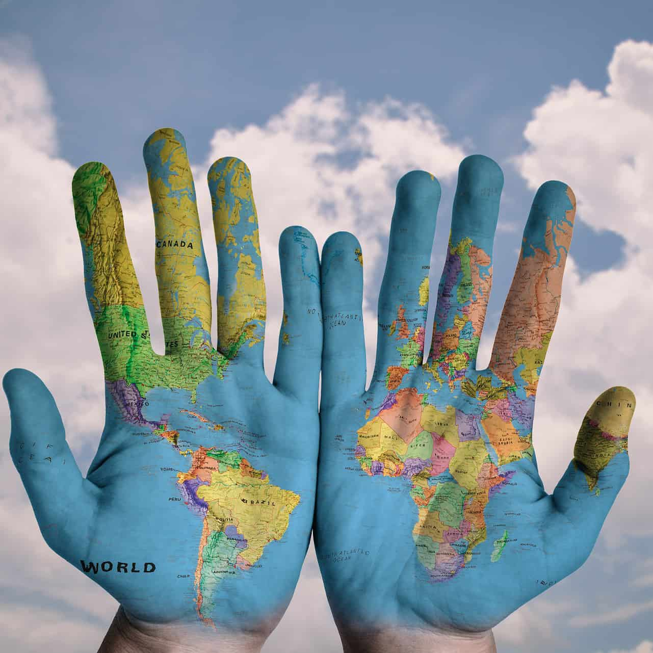 hands and world map square